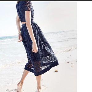 J Crew Floral Lace A-Line Skirt